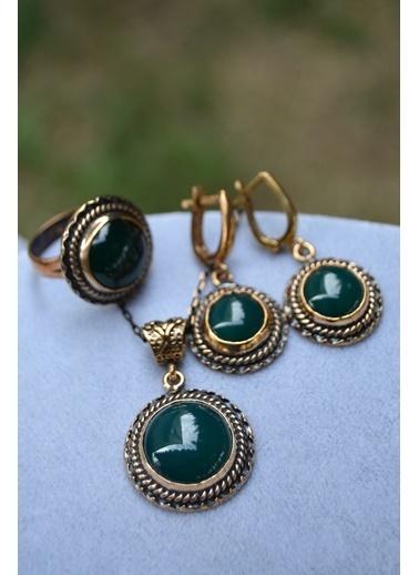 Stoneage Yeşil Akik Doğal Taş Tam Set Renkli